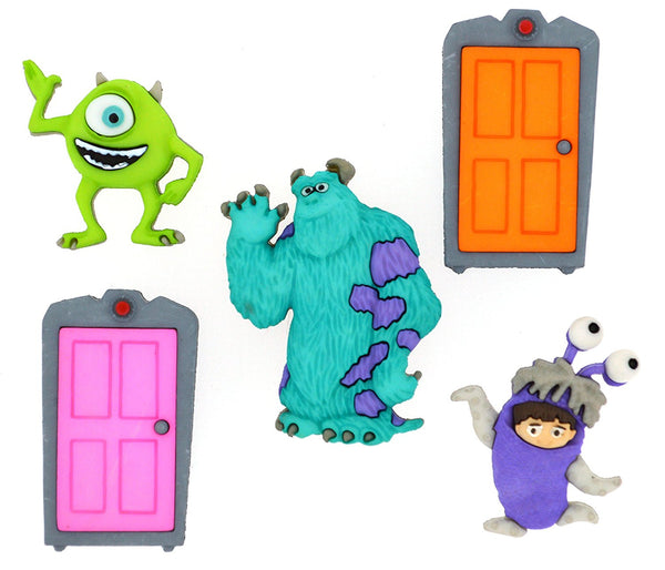 Monsters Inc Disney Character Button Embellishments