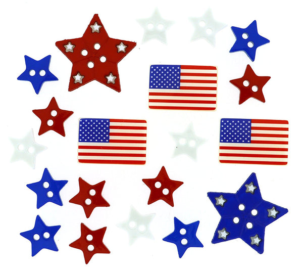 Patriotic Shapes of July Buttons Embellishments by Jesse James