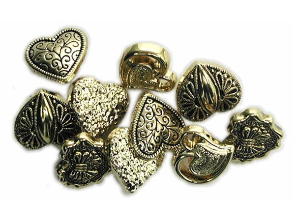 Small Gold Heart Buttons Assortment by Jesse James