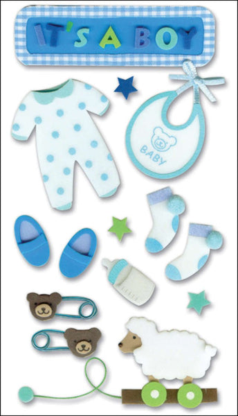 Its a Boy Baby Boy 3d Stickers by Jolees