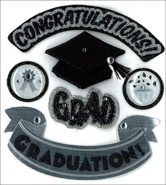 Hats Off Grad 3d Graduation Stickers by Jolees