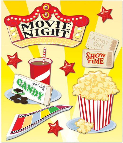 Movie Night 3d Scrapbook Stickers by K & Co