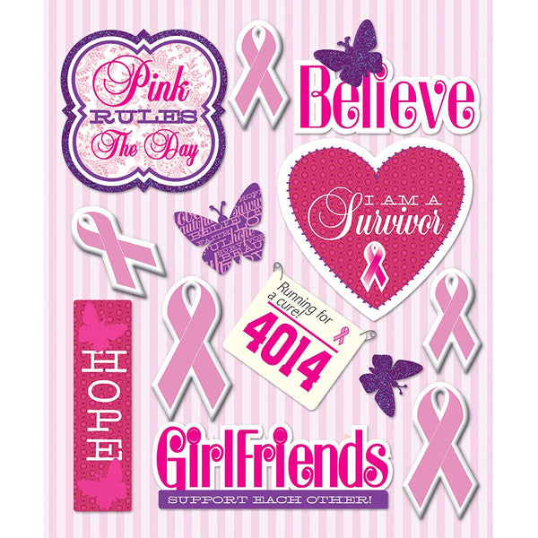 Breast Cancer Pink Ribbon Stickers by K & Co