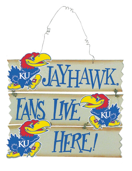 Kansas Fans Live Here Jayhawks Wood Slat Sign