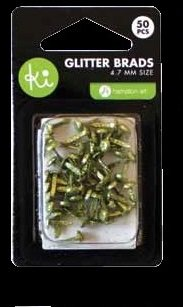 KI memories mini glitter brads green