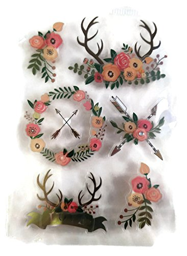 Floral Deer Antler Boho 3d Stickers Set