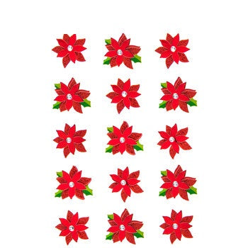 Glitter & Foil Christmas Poinsettia Layered 3D Stickers - 15 Pieces
