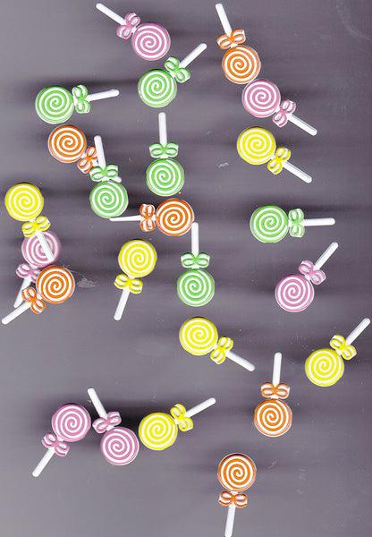 Assorted Colored Lollipop Brads - 24pc