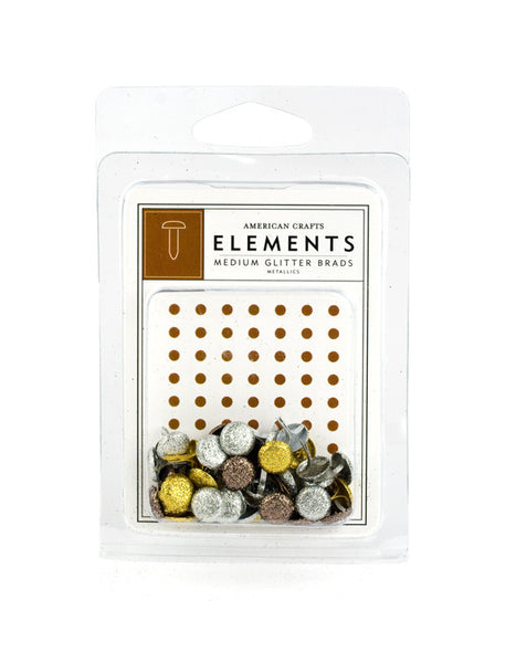American Crafts Elements Medium Glitter Brads, Metallics