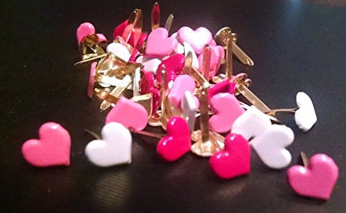 Medium Love Heart Brads Bulk 50