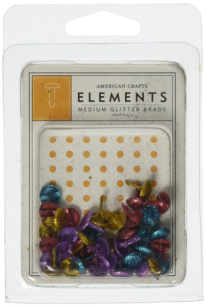 American Crafts Elements Medium Glitter Brads, Tropicals