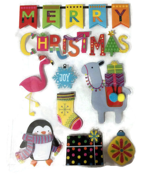 3d Merry Christmas Scrapbook Stickers