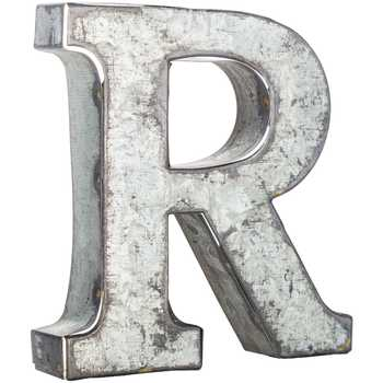 Raw Metal Letter R 3.75 inch Galvanized