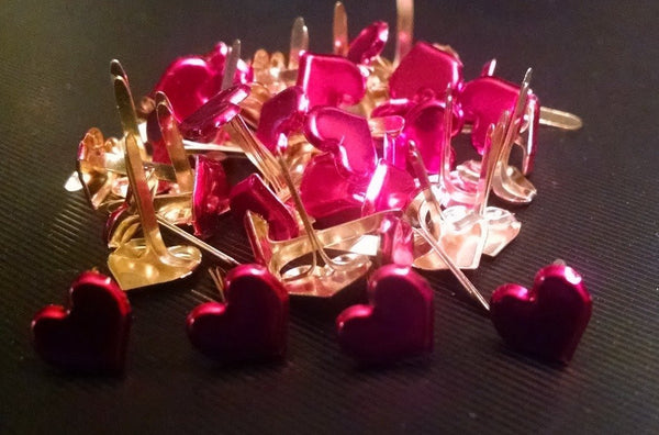 Metallic Red Sweetheart Heart Brads Bulk 50ct