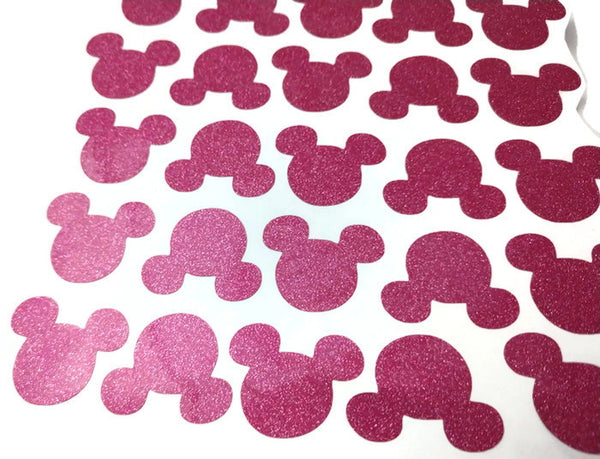 Mickey Mouse Pink Glitter Head Stickers