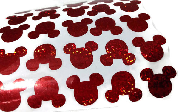 Mickey mouse vinyl decals red holographic