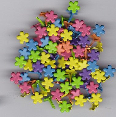 Mini Bright Colored Flower Brads - 100ct