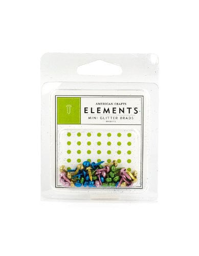 American Crafts Elements Mini Glitter Brads, Brights