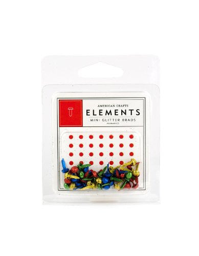 American Crafts Elements Mini Glitter Brads, Primary