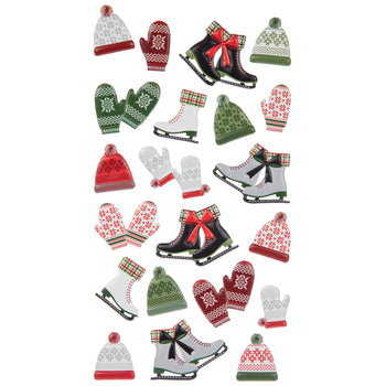 3d Puffy Mittens and Skates Stickers