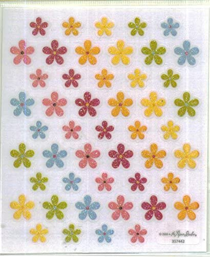 Multi Vellum Glitter Flower Stickers