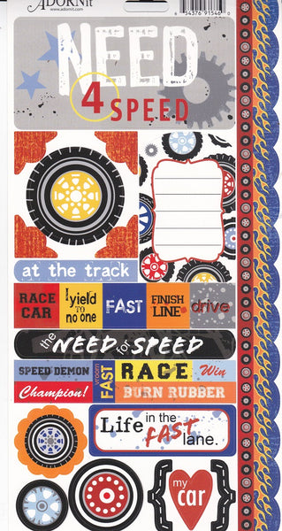 Race Cars Cardstock Stickers by Adornit