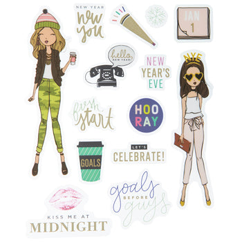 Girls New Years eve Stickers