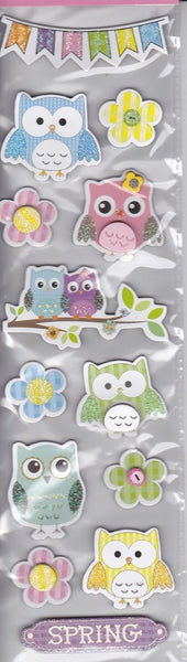 Owl Spring Chipboard Stickers