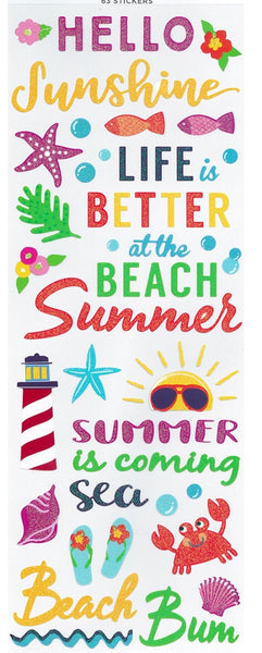 Summer Word Scrapbook Stickers