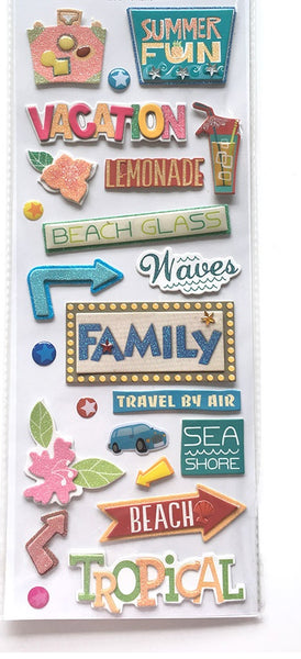 Summer Vacation Travel Scrapbook Stickers