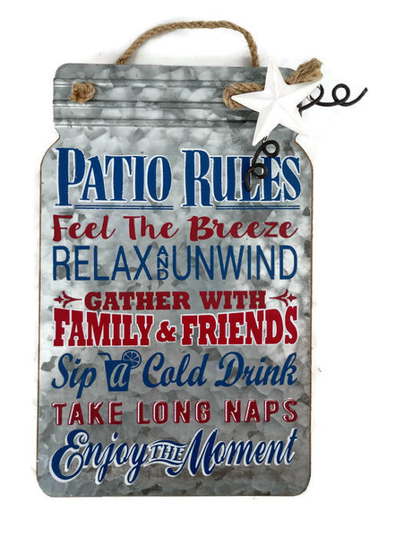 Patio Rules Summer Fun Hanging Sign