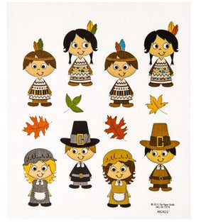 Pilgrims and Indians Thanksgiving Stickers