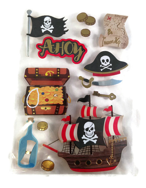 Pirates Ship Treasure Map Flag Skull 3d Stickers