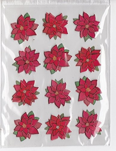 Christmas Foil Poinsettia Stickers 3d