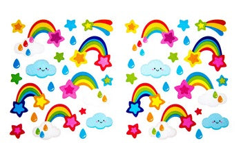 Rainbows Clouds Glitter Stickers 2 Sheets