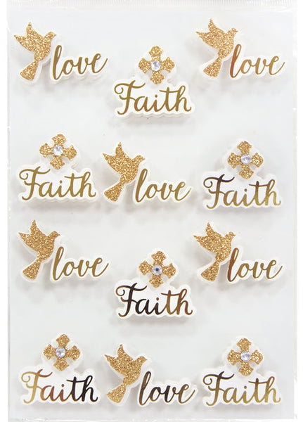 Religious Faith Quote Word 3d Stickers Gold Foil