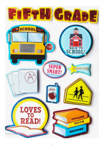 Fifth Grade Scrapbook Stickers