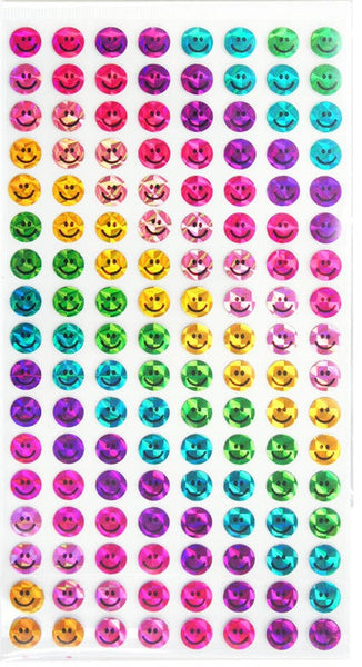 Holographic Smiley Face Colored Stickers - 272pc Scrapbooking Planner