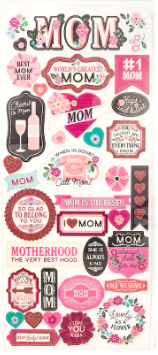 Mom Glitter Family Scrapbook STickers