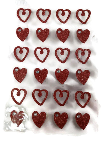 Red Glitter Heart Stickers - Solid & Outline, 24 Pieces