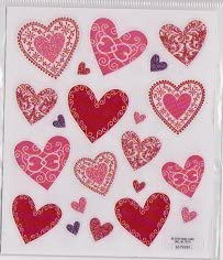 Red Patterned Glitter Heart Stickers