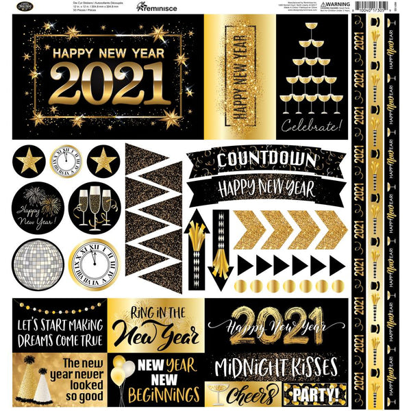 2021 New Year Scrapbook Stickers