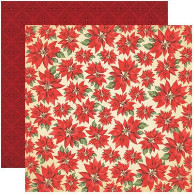 Red Poinsettia Christmas Scrapbook Paper 12x12