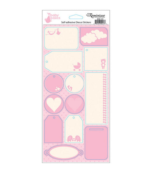 Reminisce Baby Basics Baby Girl Tags Stickers