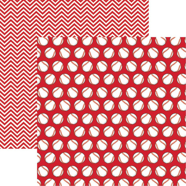 Baseball Red Scrapbook Paper by Reminisce