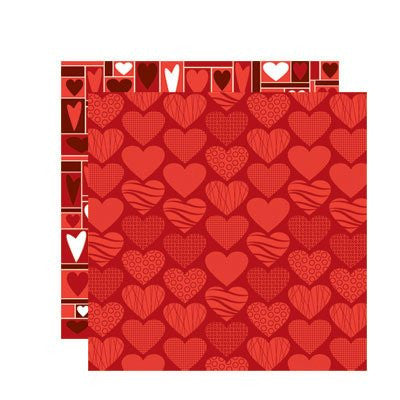 12x12 Scrapbook Paper - Be Mine - Designer Hearts - 5 Sheets