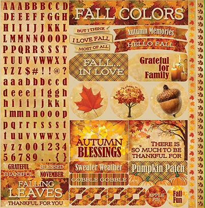 Best of Harvest Autumn Sticker Sheet 12x12 by Reminisce