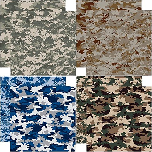 Camouflage 12x12 Scrapbooking Paper Set 4pc - Camouflaged by Reminisce