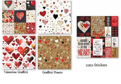 Graffiti Valentine Heart - 12x12 Scrapbook Paper & Stickers Set - by Reminisce
