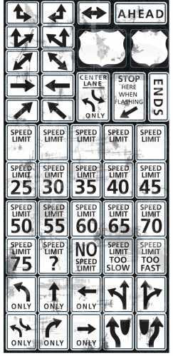Reminisce Road Signs Speed Limit Stickers